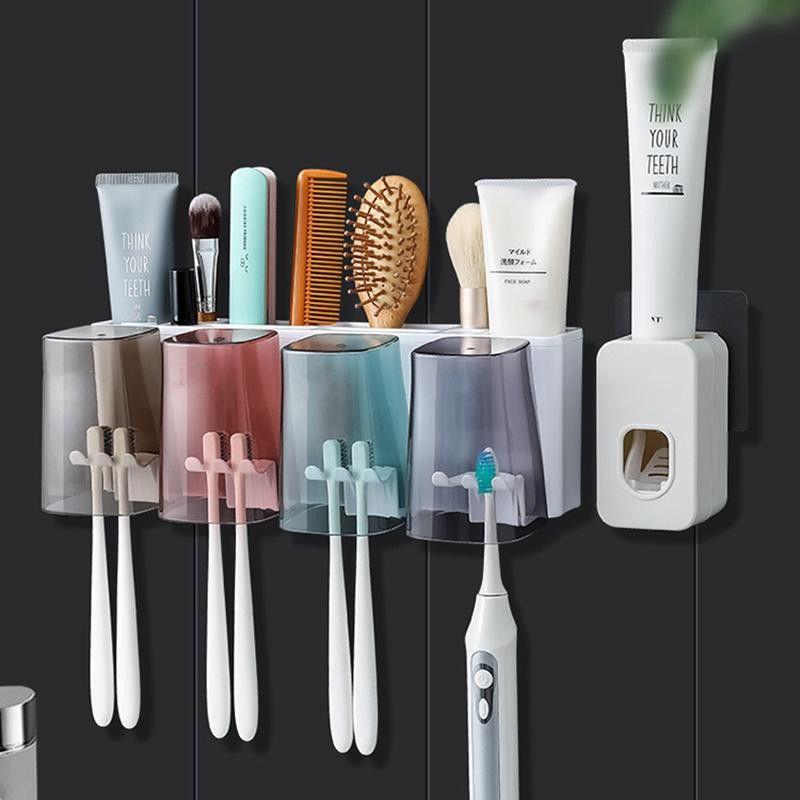 1 set adsorbimento magnetico Set Set di spazzolino da denti invertito Portaspazzolo automatico Dentifricio Squeezer Dispenser Dispenser Accessori da bagno Accessori da bagno