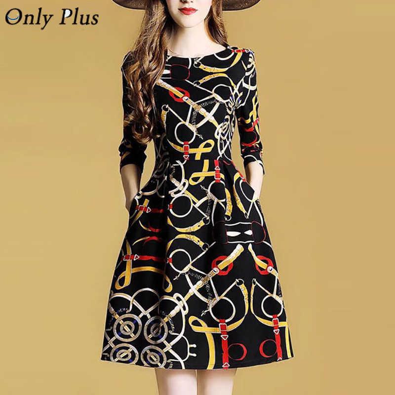 Nur plus Herbst bedruckt Vintage Kleid beiläufige schlanke hohe Taille schwarz a-line mini kleider drei viertel floral boho frauen vestidos 210603