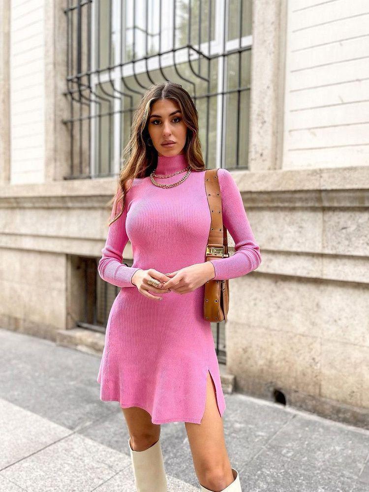 2021 Moda Fashion Chic Pink Side Split Slim Slim Mini Vestido Femenino Elegante Turtleneck Vestidos de manga larga Vestidos X0521
