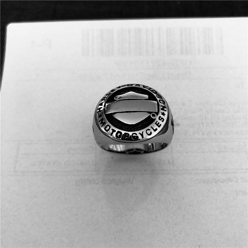 Motociclos anel 316L de aço inoxidável jóias polimento de ouro escudo de prata motociclista anel riner tamanho 7-14