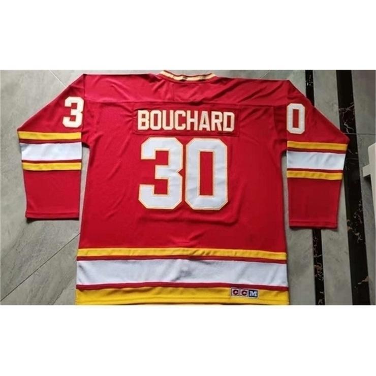 3740Rare Jersey Hóquei Homens Juventude Mulheres Vintage Chamas # 30 Daniel Bouchard Tamanho S-5XL Personalizado Qualquer Nome ou Número