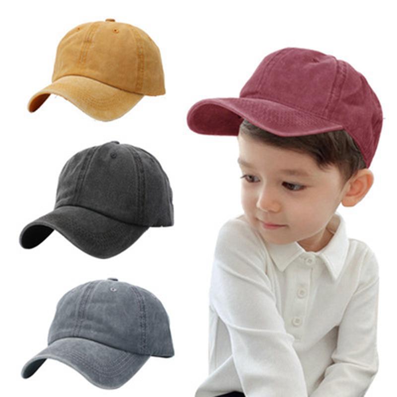 8Colors crianças boné de beisebol retrô cor puro tampas de esfera crianças lavado-luz chapéus de verão Boné Chapéu 8Colors Q198