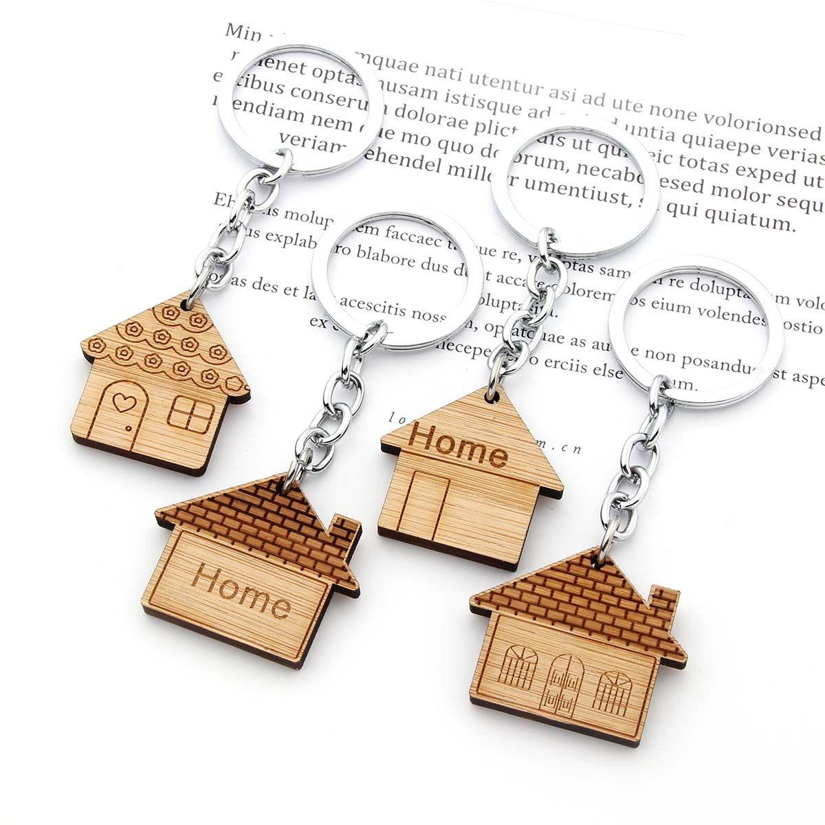 منزل مفتاح سلسلة الخشب المفاتيح housewarming حزب اللوازم هدية المنزل محفورة مفاتيح حلقة أول الاحترار تفضل تعزيز الهدايا WY1511