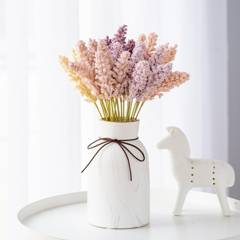Bunch Pirinç Kulak Yapay Çiçekler Bitkiler Noel Yanlış Çiçek Düzenlemen Çekim Sahne Düğün Dekorasyon Ev Dekor Dekoratif Çelenkler
