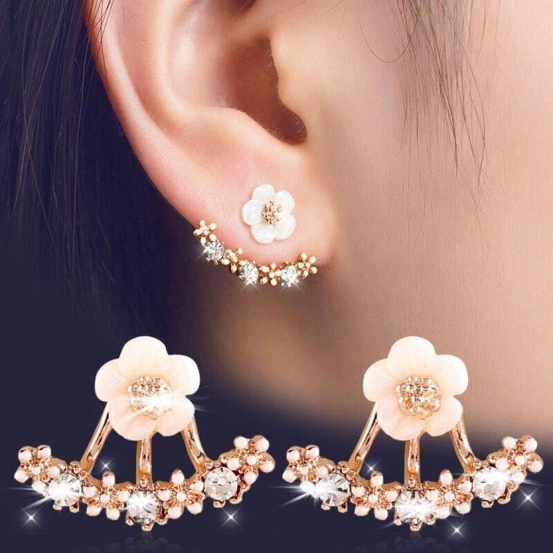 Daisy Flower Frente y trasera Dos caras Pendientes de Pendientes para Mujeres Niñas Coreano Elegante Cristal Austriaco 2 Formas de desgaste Oído Joyería de uñas
