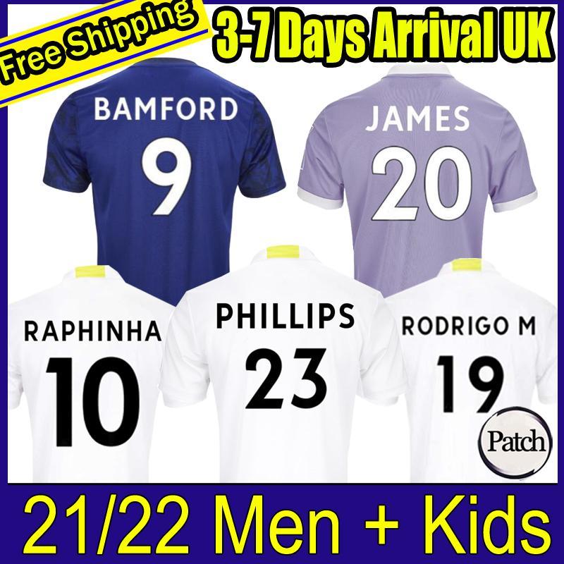 축구 유니폼 22 22 T Roberts Harrison Hernandez Costa Bamford Alioski Clarke United 2021 2022 축구 셔츠 유니폼 남성 + 키즈 키트 999