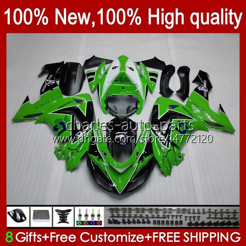 Motorfietsverbarstingen voor Kawasaki Ninja ZX-10R ZX1000 ZX 10R 10 R 1000 CC 2006-2007 Carrosserie 14NO.0 ZX1000C ZX10R 06 07 ZX1000CC 1000CC 2006 2007 BODYS KIT FACTORY GREEN