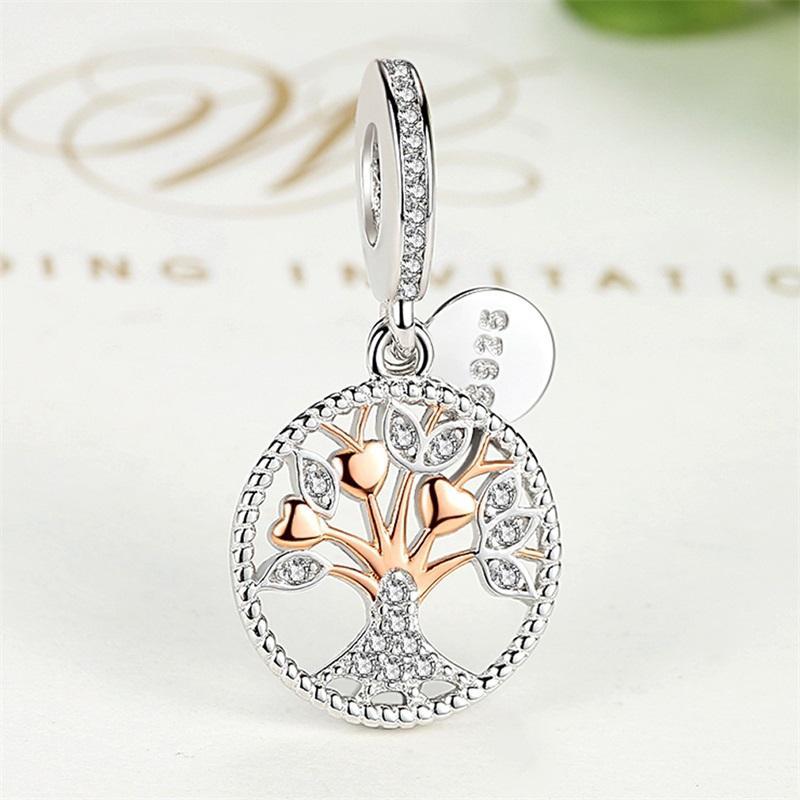 ELESHE Authentic 925 Sterling Silver Family Tree Of Life Charm Gold Bead Fit Original Pandora Charm Bracelet Pendant DIY Jewelry 1222 Q2