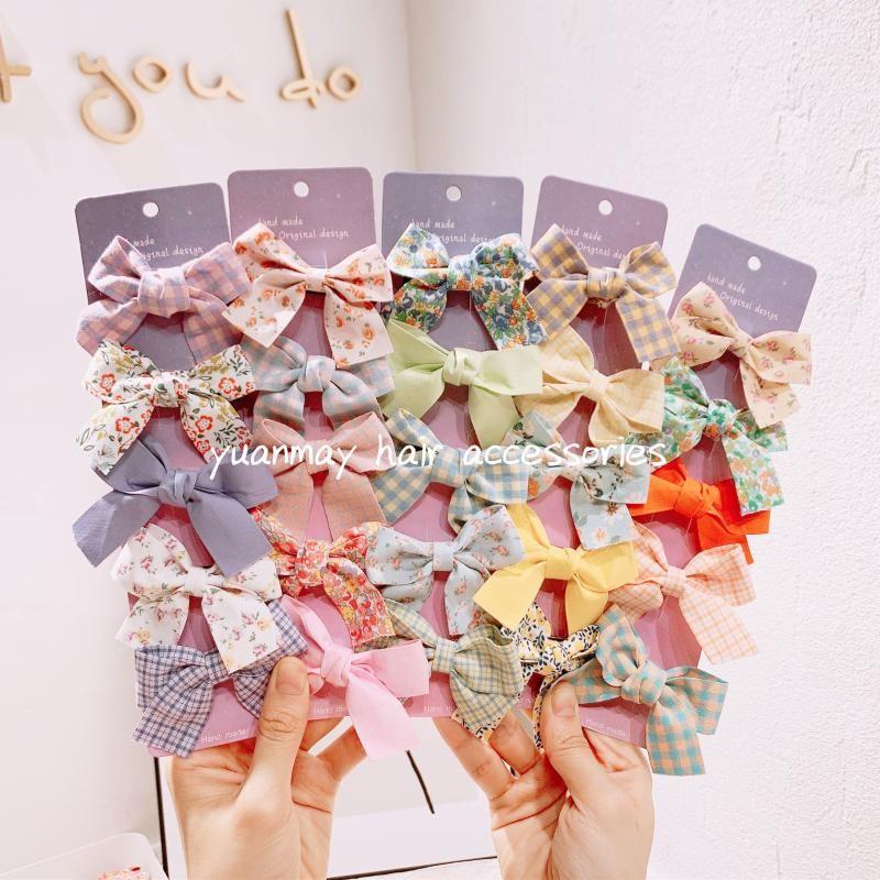 1Set Cute Hair Bow With Clip Babt Girls Sweet Barrettes Cartoon Colorful Hairpins Fashion Accessories