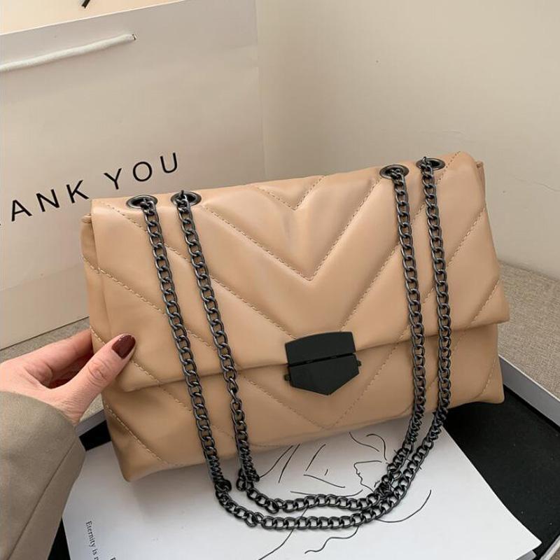 Duffel Bags Casual Chain Crossbody For Women Fashion Simple Shoulder Bag Ladies Designer Handbags PU Leather Messenger
