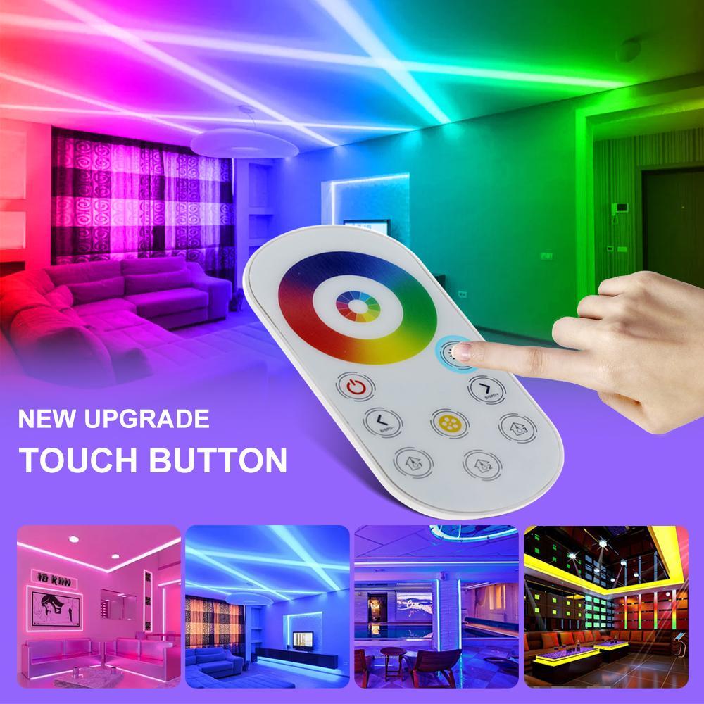 5m 10m 15m RGB 변경 가능한 LED 스트립 빛 DC12V 5050 유연한 LED 빛 RF 터치 컨트롤러 + 어댑터 플러그.