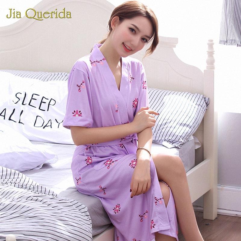 Kadınlar Yaz Kısa Kimono Pamuk Cornes Kadın Peignoir Pijama Kemer Spa Bornoz Çiçek Artı Boyutu XXXL Ev Giymek Lingerie Robe Z8MG #