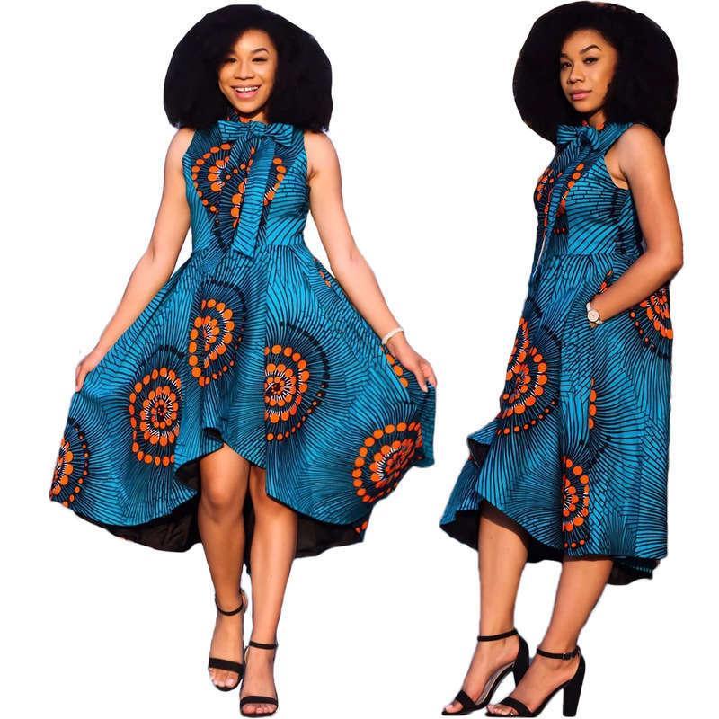 Günlük Elbiseler KM80006 Ulusal Stil Elbise Dijital Baskı Büyük Salıncak Kolsuz Uzun Etek