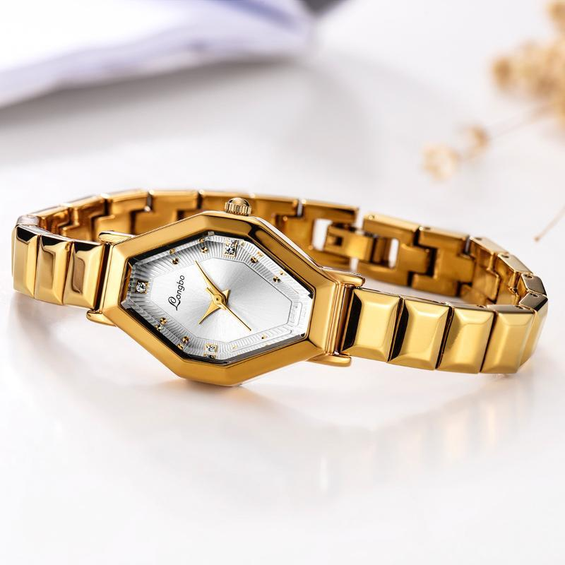 Top Stil Mode Damen Luxus Lederband Longbo Diamant Geometrisches Polygon Zifferblatt Sternenklare Edelstahl Gürtel Damenuhr Armbanduhren