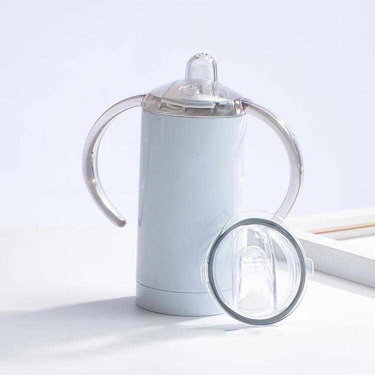 Fai da te 12oz sublimazione dritto tumbler sippy tazza coperchio maniglie in acciaio inox tazza bottiglia per il latte per bambini