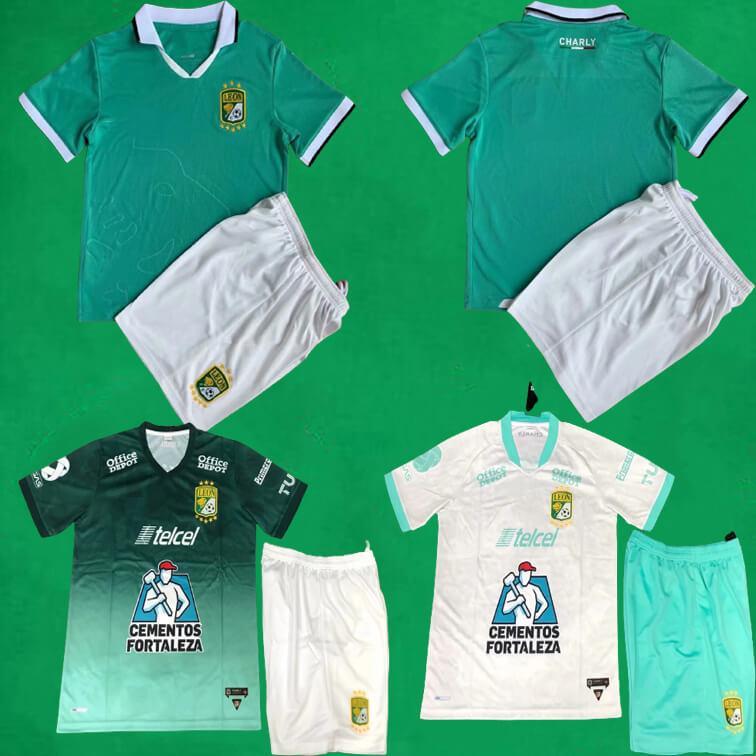 21 22 Leon Fussball Jersey Shorts 2021 Liga MX Club León Home Away Dritter Fußball Kits Camisa de Futebol Mens Kinder Sporttraining Sets