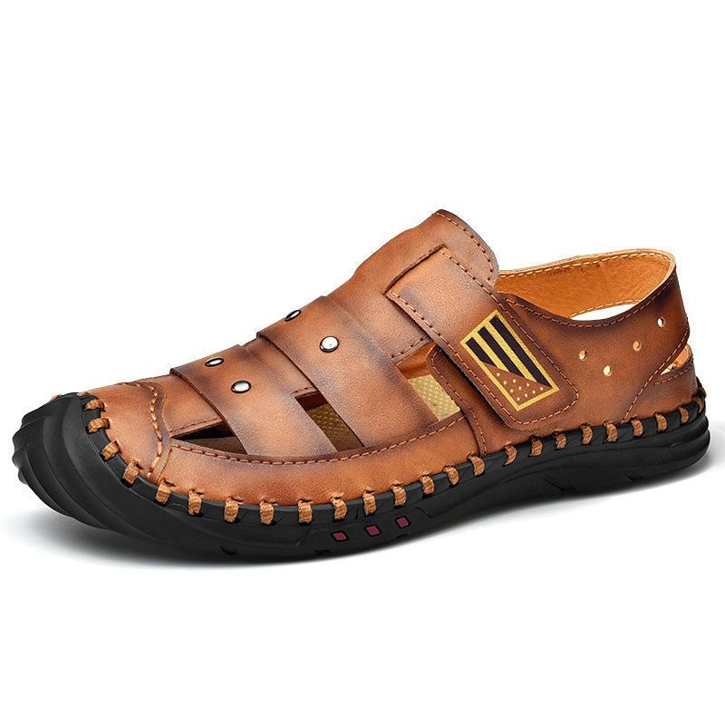 الصنادل sandalias hombre مغلقة تو كبير الحجم اليدوية الخياطة جوفاء عارضة أحذية الرجال الصيف جلد طبيعي بريا سانداليس