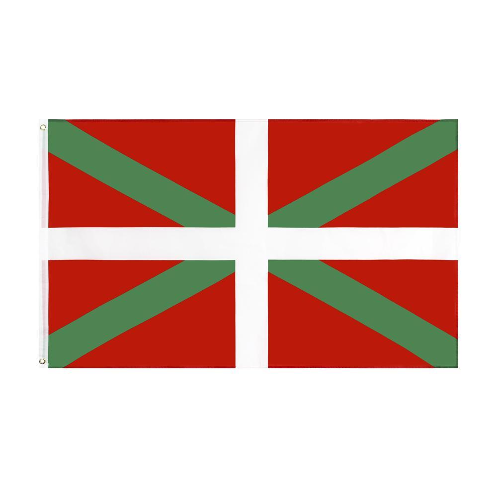 Bask Bayrağı Büyük 3 X1.5 FT Ayak Yeşil St. Andrew's Haç Bayrak Bayrakları Banner 90 * 150 cm Polyester Pirinç Grommets ile Ev Bahçe Duvar Tekne Dekor