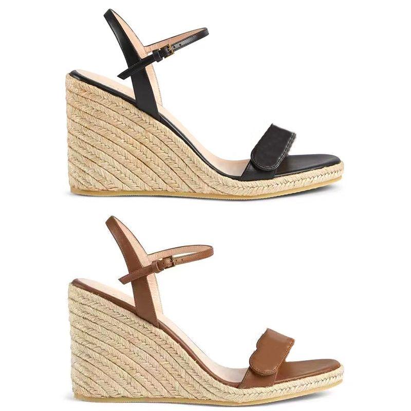 Дизайнерские сандалии Женщины Шнур Espadrille Клина в форме каблуки на каблуках 13 см. Насос мода натуральная кожаная лодыжка ремень ботинки черного высокого качества рыбака 291