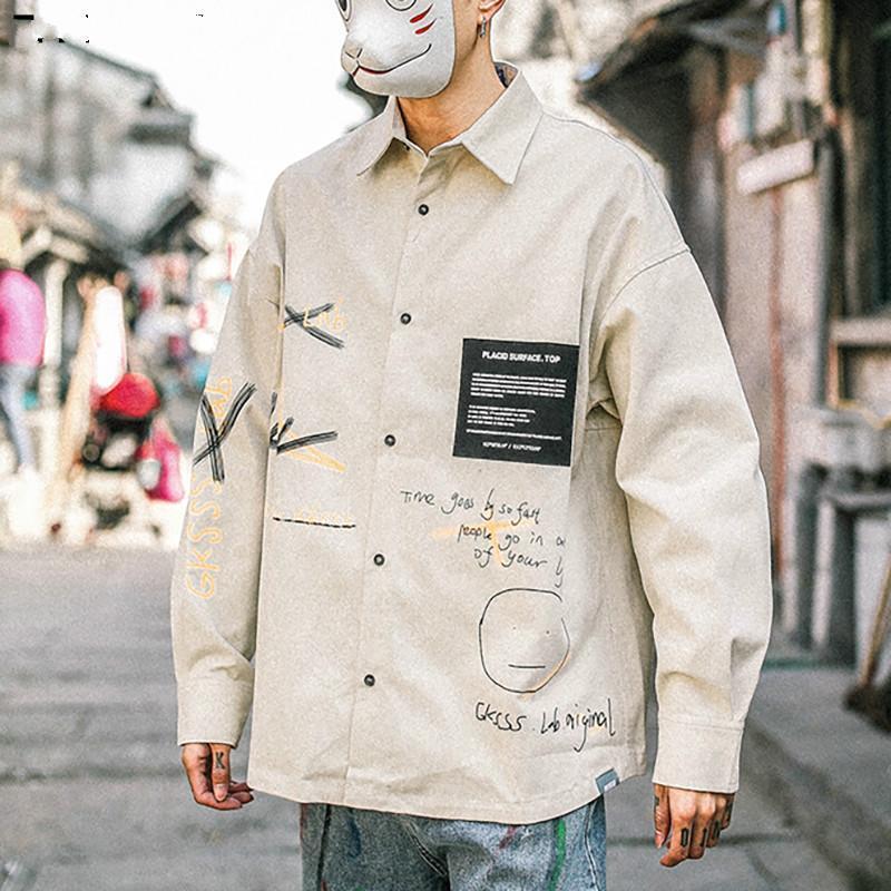 셔츠 남자 가을 패션 하라주쿠 긴 소매 streetwear 느슨한 탑스 남성 유행 브랜드 캐주얼 남자