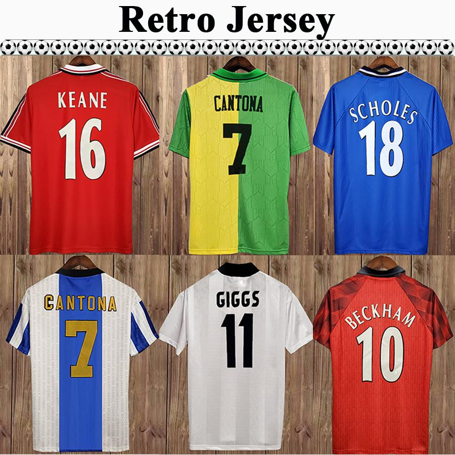 92 98 Cantona Giggs Keane Retro Mens Soccer Jerseys Beckham Solskjaer Scholes Rooney Chiharito Chemise de football à manches courtes