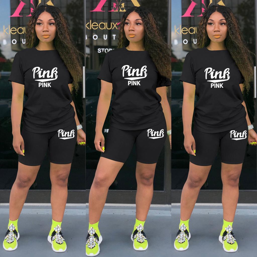Set Trajes de jogging 2021 Trajes de chándal Verano Nueva Moda Casual Carta Imprimir Color Sólido Sports Traje Para Damas 2 Pieza Mujeres Diseñadores Ropa