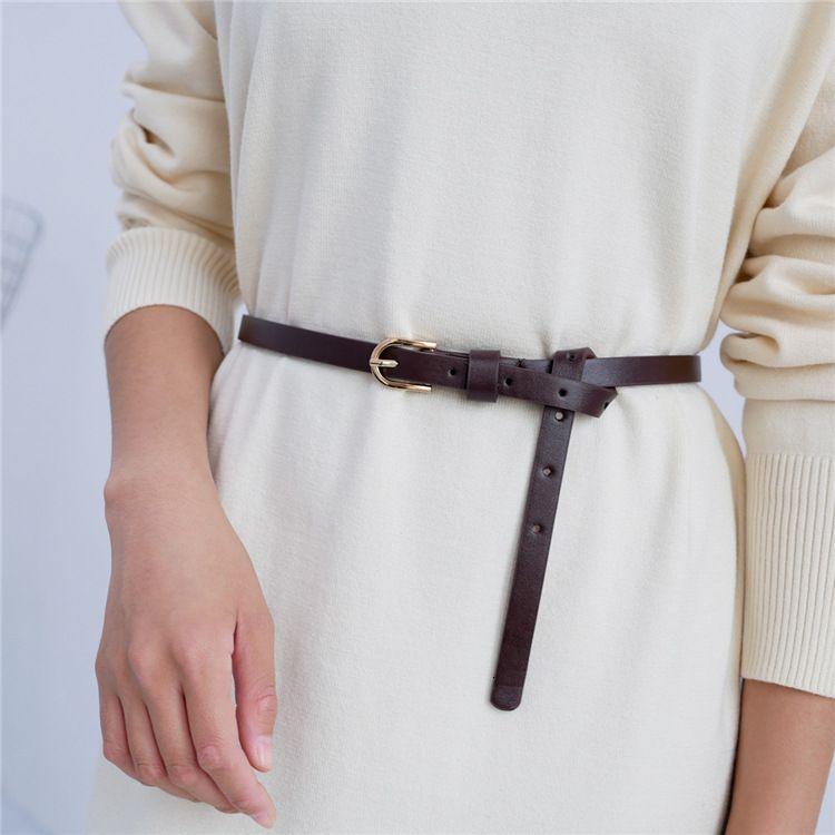 Cinto Designer de qualidade de luxo com cintura simples mulheres decorativas camisola vestido nó pequeno pino fivela pu calça