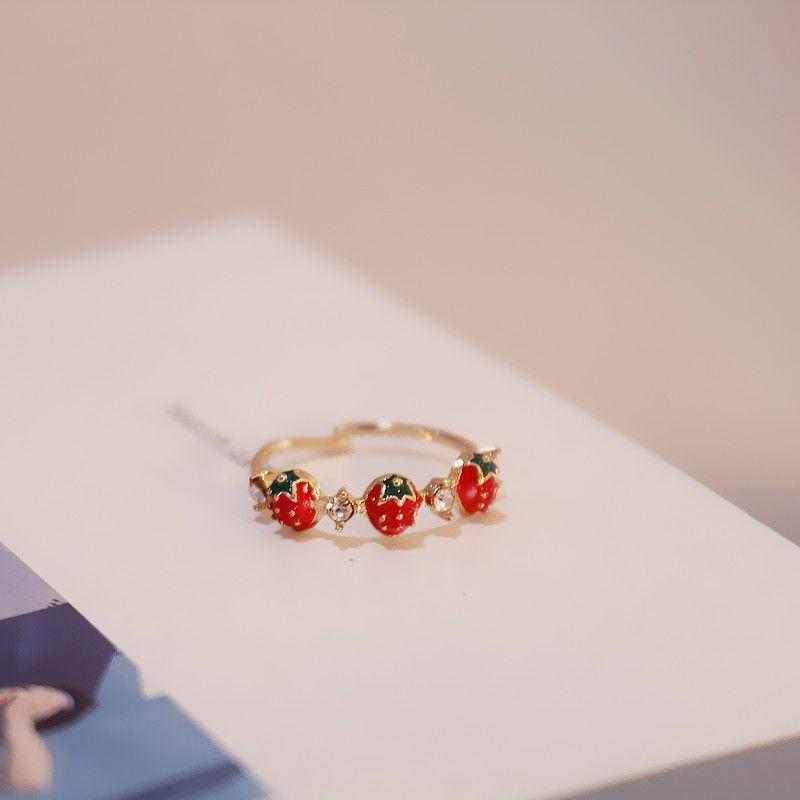 Cluster Rings Trendy Cutie Sweet Cherry Strawberry Crystal Metal Gold Color Layer Finger Ring Adjustable For Women Jewelry Girl Gifts Suit