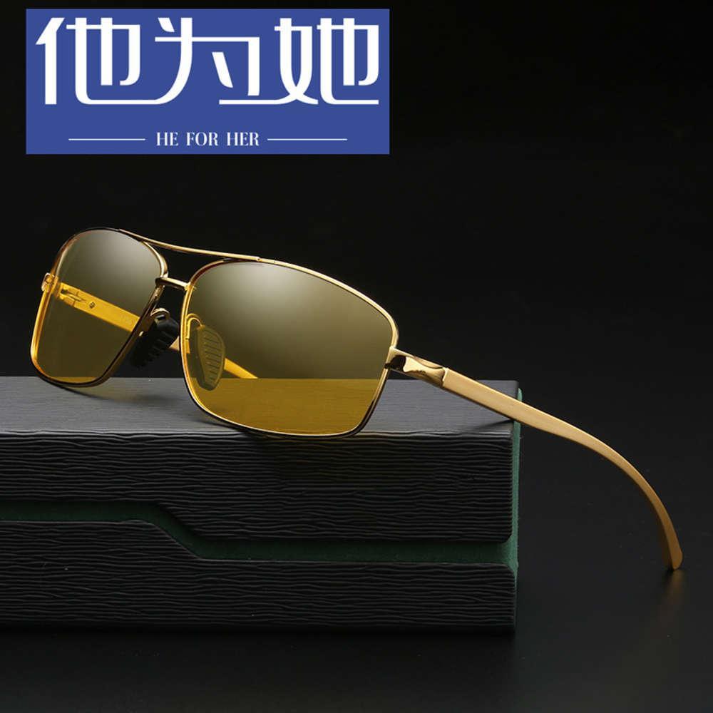 Sunglass Aluminio Magnesio Visión Polarizante Moda Moda Deportes Montar Gafas Noche Conducción Gafas 2458