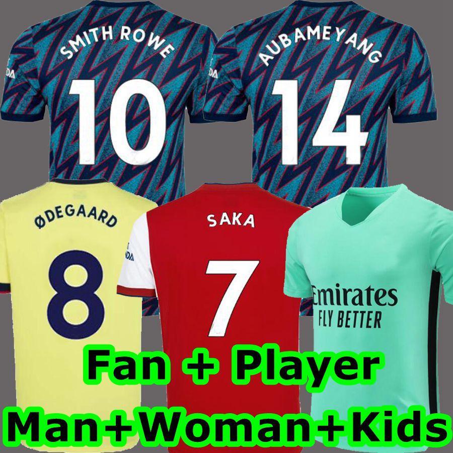 (مشجعي المشجعين) 2021 2022 Tierney Pepe Saka Soccer Jerseys Smith Rowe 10 Tavares 20 Okonkwo 20 21 22 توماس ويليان يوروبا الخطوط قميص كرة القدم الرجال + أطفال كيت رابع لينو 1