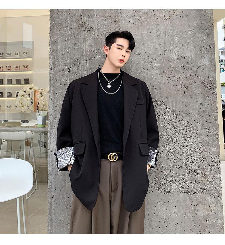 Men's Suits & Blazers Male Women Streetwear Hip Hop Suit Coat Outerwear Men Autumn Cuff Patch Loose Business Casual Black White Blazer Jacke