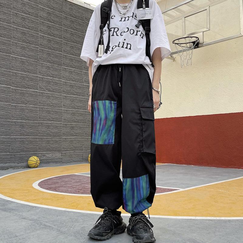 Pantalones de carga de múltiples bolsillos de gradiente de contraste hombres Moda coreana suelta Harajuku Streetwear Hip-Hop Harem Hombre