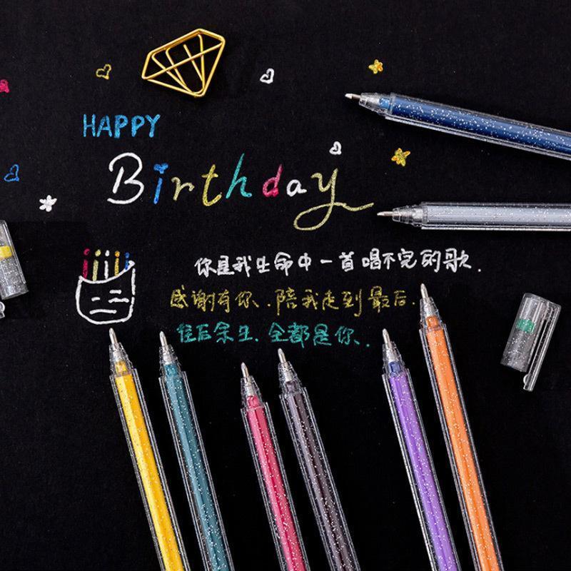 Highlighters Cartoon Pearlescent Flash Gel Pen Children Student Highlighter Marker Painting Glitter Shining Coloring Art Graffiti