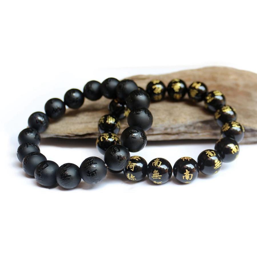 Schwarze Achat graviert name amitabha stränge perlen elastische armband 10mm 12mm 14mm buddhistische perlen chanting heiligen bracelets Reiki heilen Buddhismus Schmuck
