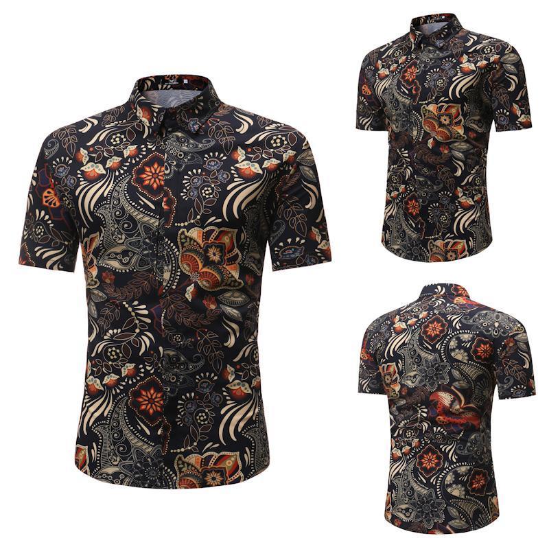 Blumengedruckte Männer Kurzarm Hemden Hemden Kragen Single Breasted Männchen Beiläufige Kleidung Slim Fit