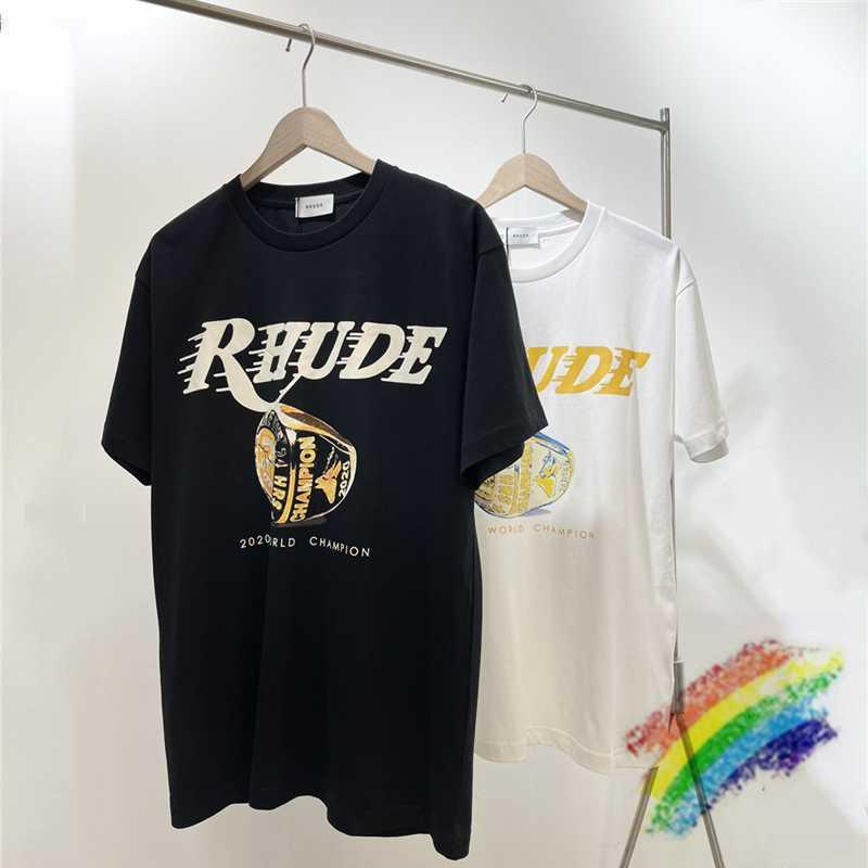Rhude LIMITED LOS ANGELES T-shirt homens mulheres 1: 1 alta qualidade tops chá curto mouw