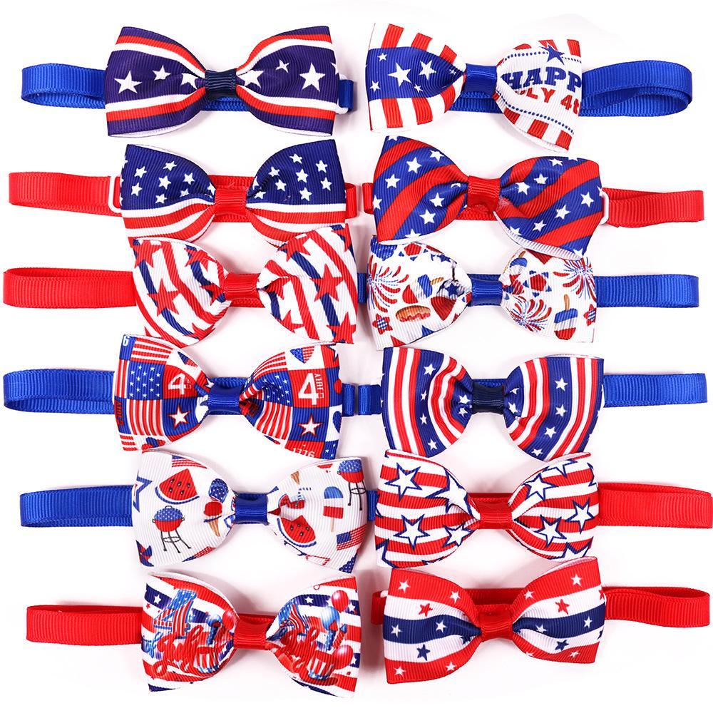 الكلب الملابس القوس التعادل الأمريكية الاستقلال اليوم مستلزمات الحيوانات الأليفة القط bowtie الاستمالة الملحقات للكلاب المتوسطة الصغيرة
