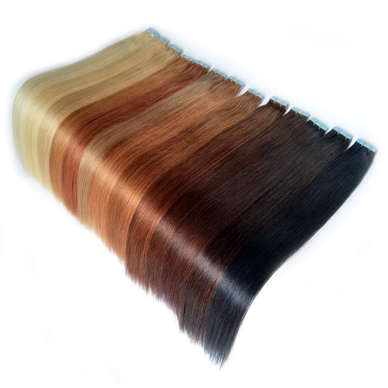 """PUT Skin Theft Ruban droit dans les extensions de cheveux humains Auburn Dark Auburn Remy 40 pièces Blonde 20''22''24 """"26"""" 28 """"100g / lot Ali Magic Factory Outlet"""