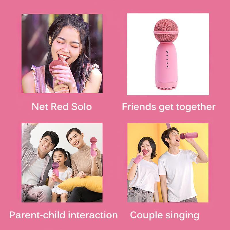 Pembe Mikrofon ve Ses Entegre Taşınabilir Hoparlör Ev Ofis Kablosuz Bluetooth Karaoke Şarkı Mikrofonlar