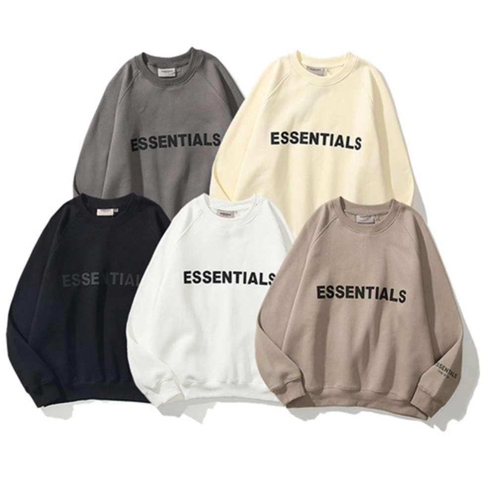 Hohe Qualität 1: 1 Hoodie Übergroße Wesentliche Reflektierende Stereo-Brief Herren- und Damen-Pullover Rundhals-Plüsch-Pullover trendy
