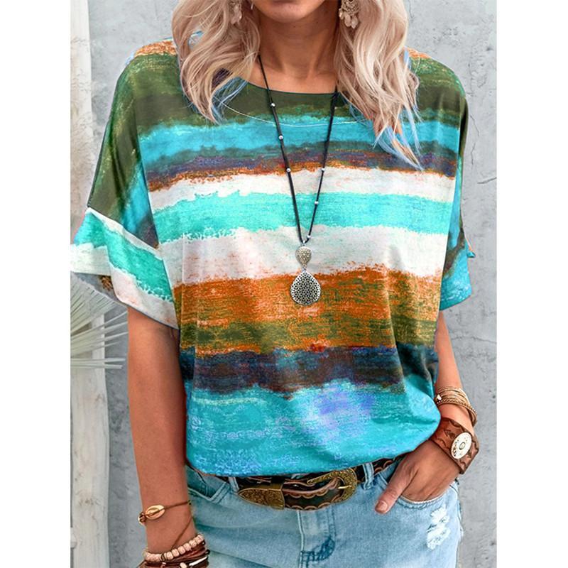 Mulheres soltas gradient contraste t-shirt de manga curta enorme 2021 verão casual grande quintal o-pescoço tops camisetas femininas undershirt mulheres