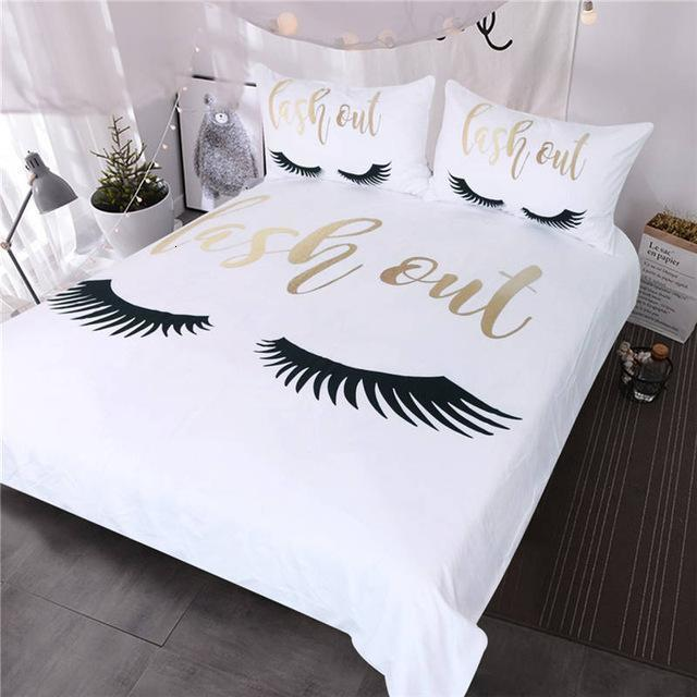 Eyelash Bedding Queen Gold and Black Cute Eyes Pattern Quilt Cover Set 3 Piece Funny Duvet Cover for Fashion Girls
