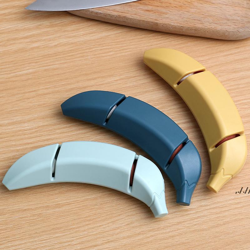 Affilatura in acciaio inossidabile Lampetta Pietra Affilabilità Forma della banana Decorare antiscivolo Coltello da cucina Accessorio La cucina DWD7518