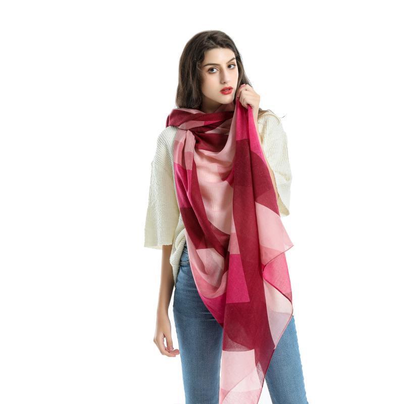 Шарфы 180 * 90 см хлопчатобумажного проманика Voile Scarf осень зима мужчин Folyard Square Hijab женская платка обернуть глушитель Pareo женщина