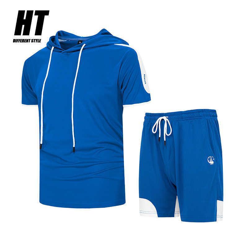 Mode Männer Set 2 PC Sportswear Anzug Herren Patchwork Kurzarm T-Shirt Mit Kapuze + Shorts Casual Sommer Trainingsanzug Männliche Kleidung 210603