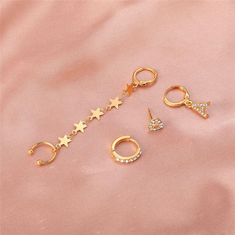 Star Heart Letter A Diamond Earring Charm Women Retro Alloy Tassel Ear Buckle European Hollow Out Party Gift Punk Earrings Cuff Jewelry Sets Accessories Wholesale