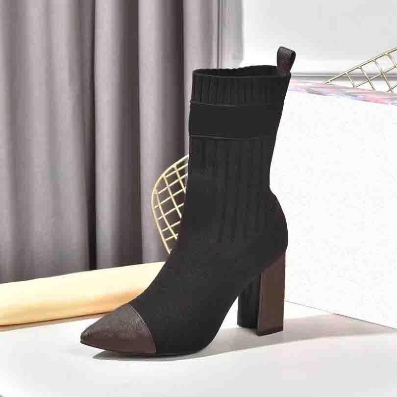 Spring Autumn Knitted Elastic Boots Show Style Letter Thick Heels Sexy Woman Shoes High Heel Boot Fashion Socks Lady Top Quality With Box