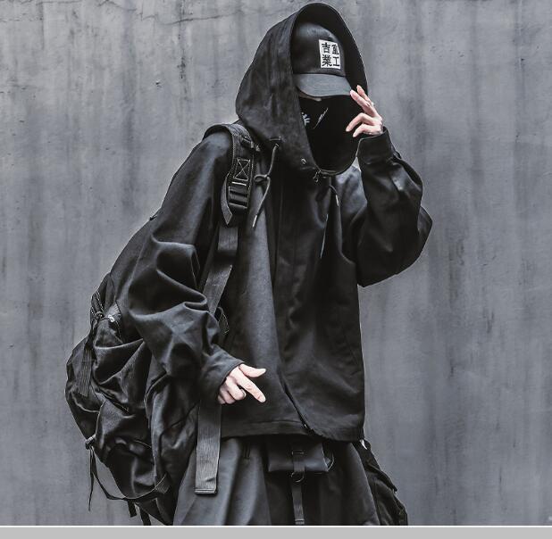 Sombre noir et blanc bip hop hop hop streetwear houseear jaquette manteau homme fonction vintage poisson mouton veste perd sweat à capuchon