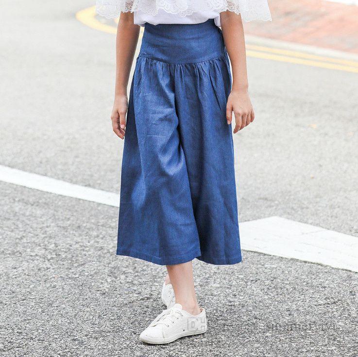 Büyük Kızlar Geniş bacaklı Kot Moda Çocuklar Katı Gevşek Pantolon Çocuk Yumuşak Pamuk Dipleri Gençler Denim Pantolon Q0421