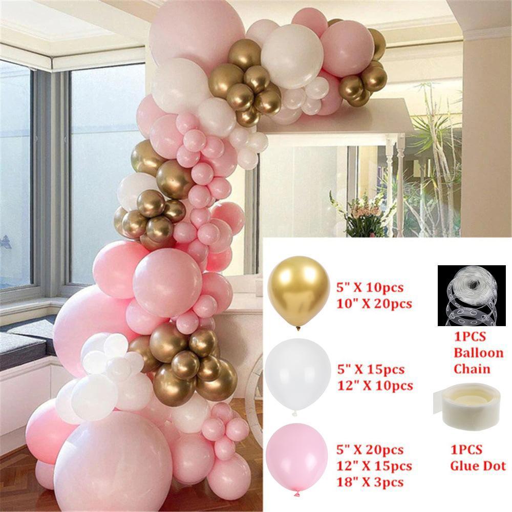 126 pz / 96pcs hot dentellare cromato rosa oro palloncino arco ghirlanda matrimonio naseltyday baby shower feste sfondo decorazione globo per bambini giocattoli caldi rosa